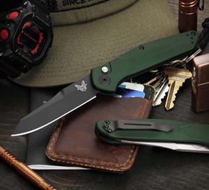 "Benchmade 9400 / 9400BK Osborne AUTO faca dobrável 3.4"" S30V Preto / cetim Plain Blade, Verde Alumínio alças BM3300 Faca automática"