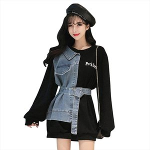 Chic women patchwork denim sweatshirts femme fashion fake two pieces pullovers lady long blouses Drop Shipping