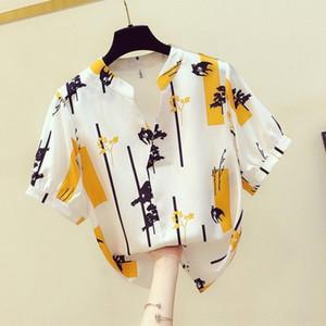 js02Y Design sense niche printed chiffon shirt women's short sleeve 2020 Summer western Loose new style shirt shirt