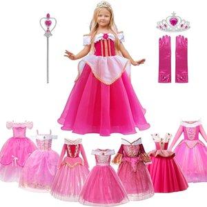MUABABY Kızlar Aurora Prenses Kostüm Çocuk Bırak Omuz Uyku Güzellik Yarışması Parti Elbise Cadılar Bayramı Fantezi Giysi Giyim 0922