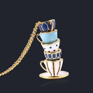Intéressant Teacup Collier Pendentifs Mode chaîne Pull Coupe Email Vêtements Accessoires pour les femmes fille Bijoux