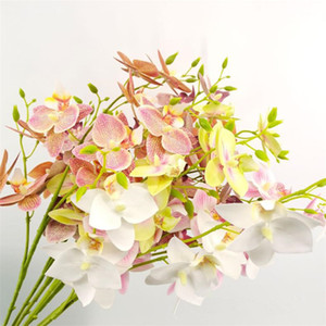 Fake Pigeon Orchid (3 stems piece) Simulation Real Touch Latex Phalaenopsis for Wedding Home Decorative Artificial Flower