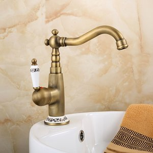 Newly Luxury Antique Copper Basin Mixer hot and cold Swivel with Ceramic Basin Mixer Tap Deck Mounted Sink Vanity Crane ZR107
