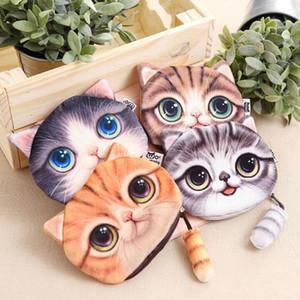 Bayanlar Kadın kız Sevimli Fermuar Çantası 3D Baskı Kediler Hayvan Big Yüz Değişikliği Moda Sikke Çantalar Cüzdan 13 * 16cm