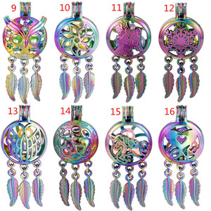Rainbow Color Alloy Mix Dream Catcher Beaty Feather Beads Cage Locket Pendant Diffuser Perfume Essential Oils Diffuser Boutique Gift