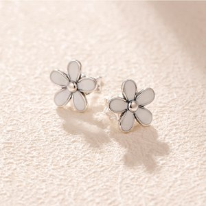 Wholesale-Daisy Flower Stud Earrings for Pandora Real 925 Sterling Silver High Quality Ladies Birthday Gift Stud Earrings