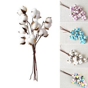 10 Branches Fleurs séchées Tête de coton tige Branches florales artificielles Floral Cotton Mix Décoration Rayon Salon Fleur