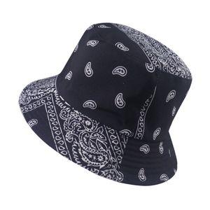 Neue Sommer-Schwarz-Rot Paisley-Muster-Fischen-Fischer-Caps bandana Bucket Hats Women Bob Hip Hop Panama