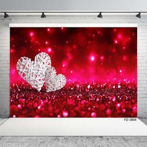 Fundos White Heart Red Sand faísca Bokeh Foto cenários de fotografia de vinil para o dia Photophone amantes de casamento dos Namorados