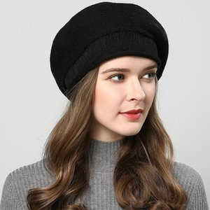 Solid Warm Women Beret Casual Knitted Hat Curling Cap Stretchable Wool Blend Artist Outdoor French Classic Soft Winter Autumn