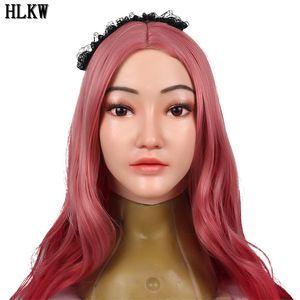 Realista Silicone Sexy Mulheres Máscara Falso Rosto Halloween masken Para Crossdresser Transgender masculino para feminino Masquerade
