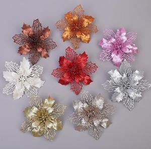 Décorations de Noël Boutures or et fleurs rouges évidés les feuilles d'arbre de Noël Décorations Garland, bricolage flash poudre fleur Arrangez
