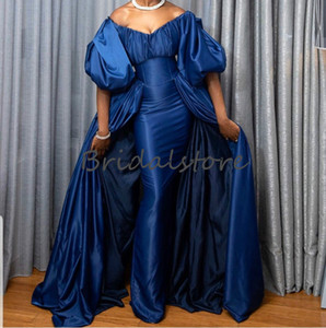 Dubai Mermaid Evening Dresses With Detachable Train Sexy Off The Shoulder African Black Girls Prom Gown Elegant Half Sleeve Party Dress 2020