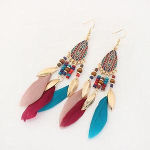 Fashion retro rice Bead Tassel Earrings women&#39s long metal leaf feather drop oil Earrings national style earrings