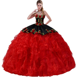 Removível dupla Correias Tridimensional Floral Rose Applique corpete e Overlay Peplum Black and Red Dress Quinceanera com medalhões