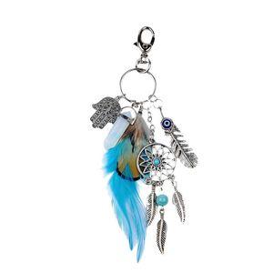 Portachiavi Dream Catcher Keyring Bag Charm Fashion Boho Gioielli Piuma Portachiavi