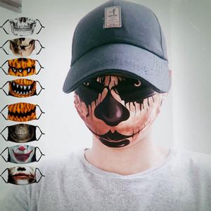 Máscaras do partido do Dia das Bruxas com filtro Adulto Moda 3D Impresso Crânio do palhaço algodão máscara máscaras Bicicleta Dustproof lavável reutilizáveis cobrir o rosto