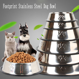 Stainless Steel Pet Bowl Non-slip Cat Drinking Water Dish Travel Dog Food Container Footprint Puppy Feeding Feeder Teddy Dogs Supplies