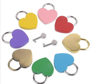 Heart Shaped Concentric Lock Metal Mulitcolor Key Padlock Gym Toolkit Package Door Locks Building Supplies