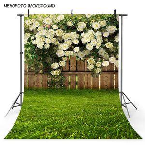 Mehofoto Printemps Paysage Arrière-plan Photo Green Grass Fleur Clôture Photographie Toile de fond de Pâques Art Portrait 377 Backdrops