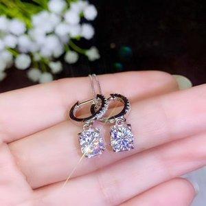 5*5MM gem glitting moissanite gemstone dangling earring pendant for women 925 sterling silver girl birthday gift 200921