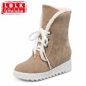 Russia Women Round Toe Flat Mid Calf Boots Woman Lace Up Shoes Female Warm Thickened Fur Winter Half Botas Size 34 43 Football Boots W 5Sdd#