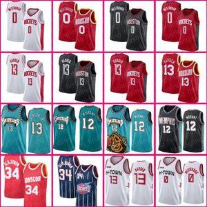 12 Ja Morant James Harden Russell Westbrook MemphisGrizzliesJersey Hakeem Olajuwon 34 Jaren Jackson 13 Jr. Basketball Hommes Kid