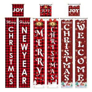 Novo Decorações de Natal cortina dísticos rede porta preto suspensão layout de cena do Natal vermelho e