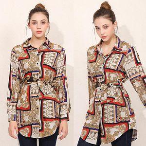 Shirts Irregular Designer Shirt Womens Spring Autumn Printed Blouses Lapel Neck Panelled Long Sleeve