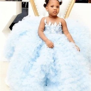 Sky Blue Ball Gown Baby Girls Dresses for Birthday Lace Flowers Girls Dresses Party Gown Wear Special Occasion 12M 24M 0924