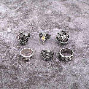1PC Retro Punk Drachenkopf Hohle Weaving Big Ring Frauen Männer Modische Weinlese-Metall-Farben-Feder-Ziege-geöffneter Ring Schmuck R68