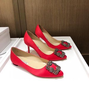 2020 MB Primavera Nova Fada Sapatos de Casamento, Botão Quadrado Cetim Plano, Rhinestone, Ponto Raso, Sapato único