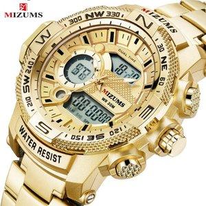 MIZUMS наручные часы LED спорта цифровые часы Мужчины Gold Full Steel Band Dual Time кварцевые часы для Человек Relogio Мужчина для