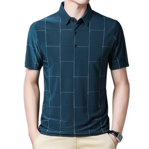 BROWON New Graphic T-shirt Homme d'affaires d'été à manches courtes T-shirt décontracté en vrac Plaid turn-down col T-shirts pour hommes X0923