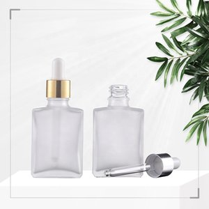 Frosted 30ml Glass Dropper Bottles for Essential Oil Cosmetic Eliquid Oil with Glass Pipette Tube Gold Silver Black Lids