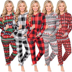 Winter Christmas Plaid Pajamas 2 Piece Hoodie Set Hooded with Pocket Blouses and Pants Women tracksuit Warm Outfits Clothing Suit GWC2203