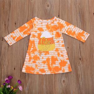 Children Girls Long Sleeve Dresses Halloween Pumkin Striped Tie Dye T Shirt One Piece Dress New Kids Halloween Party Dress Clothing D91606