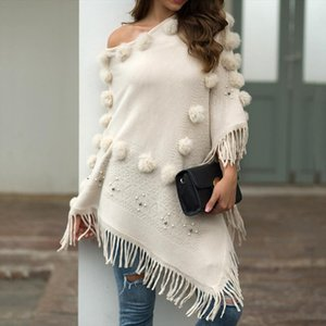 Casual Sweater Cape Pullovers Tassel Poncho Sweater O Neck Solid Hairball Cloak Loose Shawl Female Jumper Autumn Invierno Coat