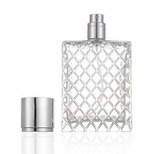 100 ml Botella de vidrio transparente Grid Desginner PERFUME VACÍO Botellas de pulverizador PERFUME ATOMIQUE ATOMANTE PERFUME DE PERFUMENTE DE PERFUME