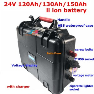 24V 150Ah waterproof 120AH Lithium ion battery 130Ah li-ion for EV scooter golf cart UPS backup power +10A Charger