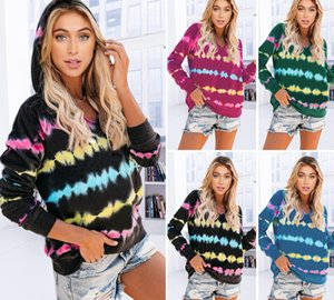 Foreign Trade New Style 2020 Tie-Dye Heartbeat Printing Hooded Sweater Top Autumn and Winter All-match Casual Loose Sports Womens55