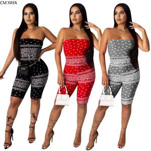 CM.YAYA Kadınlar bandana baskı kolsuz askısız playsuit moda streetwear tek parça genel tulum X0924 tulum bodysuit