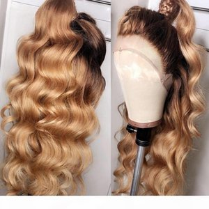 360 1B 27 Ombre Honey Blonde Body Wave 13x6 Lace Front Human Hair Wigs Dark Roots Brown Glueless Full Lace Wigs Baby Hair