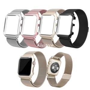 for apple watch 5 band 38mm 40mm 42mm 44mm,milanese loop stainless steel magnetic bands with metal case for iwatch 1 2 3 4 5