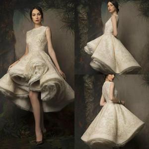 2020 Krikor Jabotian Short Prom Dresses High Low Jewel Neck Lace Beaded A Line Evening Gowns Vestidos De Festa robes de soiree