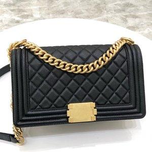 En kaliteli çanta kadın le küçük elmas kafes ipliği hakiki deri zincirler klasik flap çocuk cüzdan çanta crossbody çanta omuz çantaları