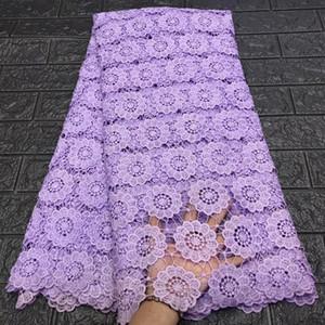 2020 Новая африканская Чистая ткань шнурка высокого качества Элегантный нигериец Свадебные кружева ткани 5 Yards Фиолетовый Gold Line французский тюль кружева