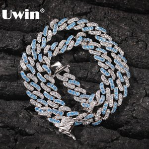 UWIN 8mm Iced Out Women Choker Necklace Silver Color Cuban Link With White & Baby Bule Cubic Zirconia Chain Hiphop Jewelry