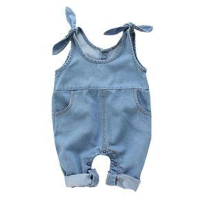 Kız bebekler Suspender Pantolon Çocuk Denim Katı Desen Kolsuz Pantolon tulumları Pantolon 4M-2T MX200811