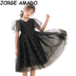 Robes enfants pour les filles 2020 Summer Sky Starry super Fairy Princess adolescents Mesh filles Robe layette E22101